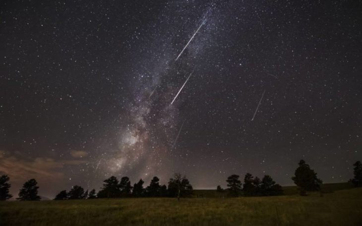 Lluvia de estrellas vista en campo abierto