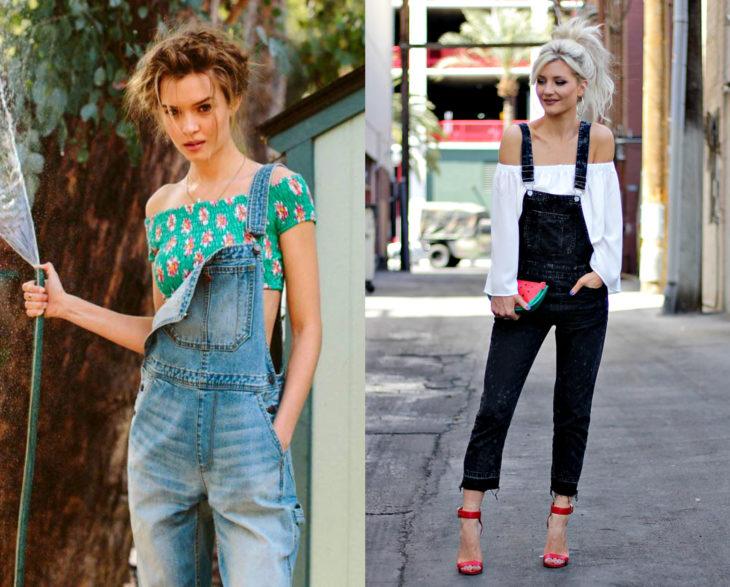 Looks con overol negro y azul, con blusa campesina sin hombros, verde con flores y blanca