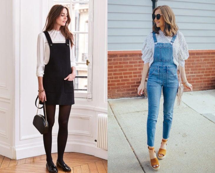 Looks elegantes con overol negro y azul