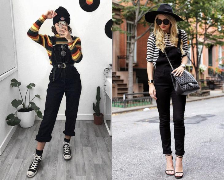 Looks con overol negro y blusa rayada, con gorro y sombrero