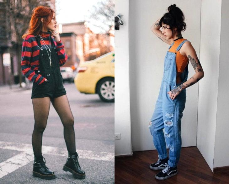 Looks grunge con overol negro y azul, blusa de rayas negras y rojas