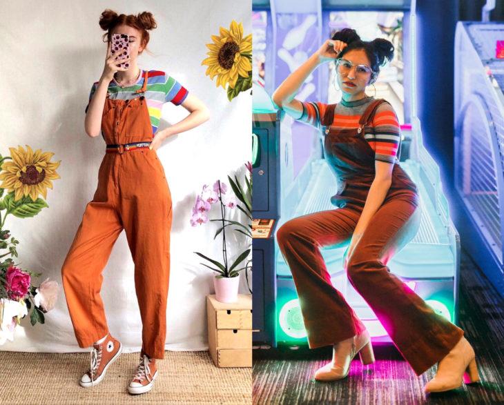 Looks con overol anaranjado, blusa rayada de colores y chica con peinado de buns, chongos altos; retro