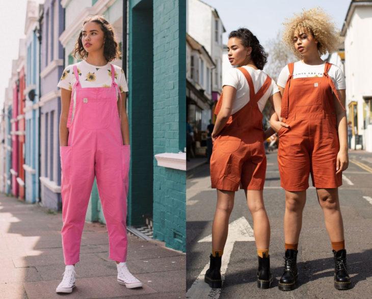 Looks con overol rosa y anaranjado con blusa básica blanca
