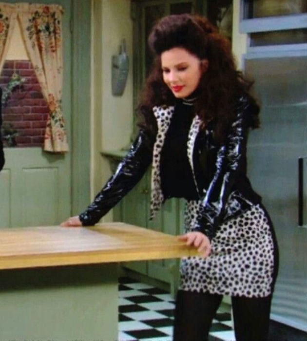 Outfits by Fran Drescher from 'La Niñera'; animal print jacket and skirt