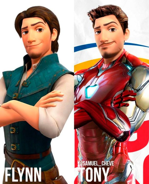Flynn de Enredados como Tony de Iron Man