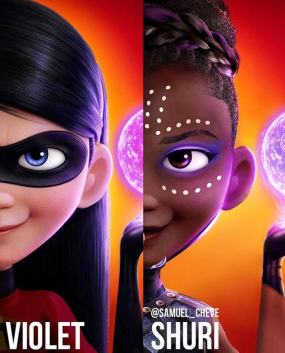 Violet de Los increíbles como Shuri de Pantera negra