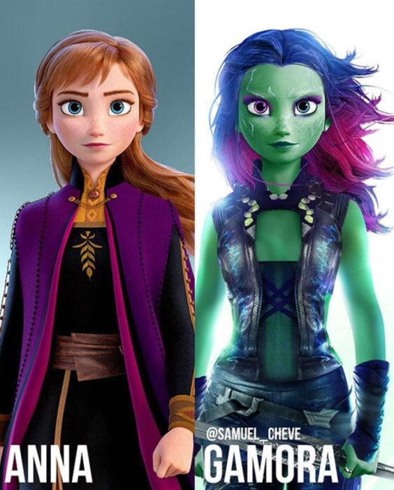 Anna de Frozen como Gamora de Los guardianes de la Galaxia