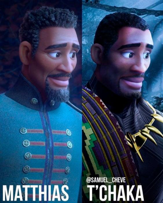 Matthias de Frozen II como T'Chaka de Pantera negra