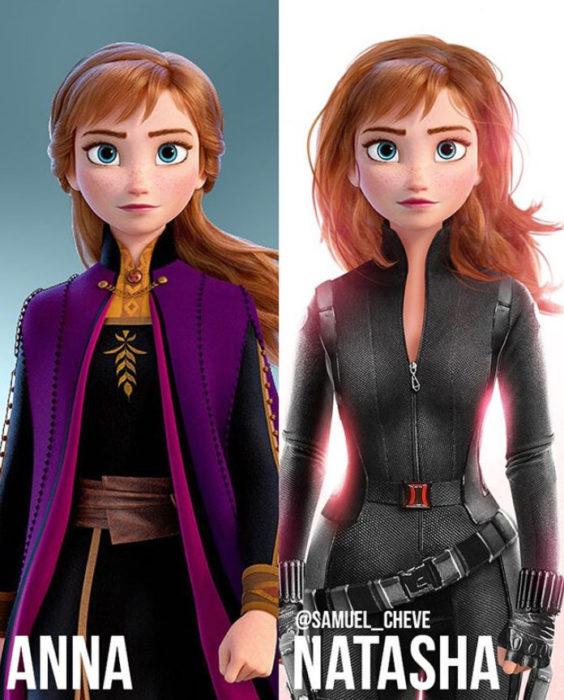 Anna de Frozen como Natasha de Los vengadores