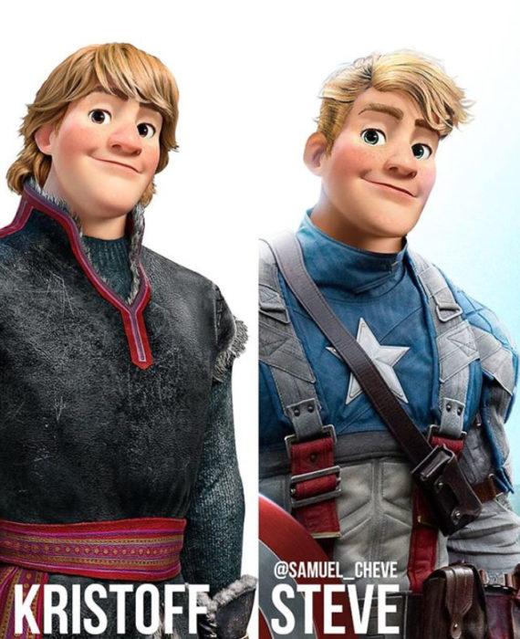 Kristoff de Frozen como Steve Rogers de Capitán América