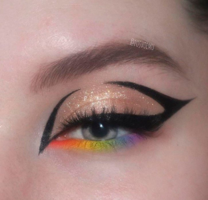 Eye makeup with black liner and rainbow-toned shadow