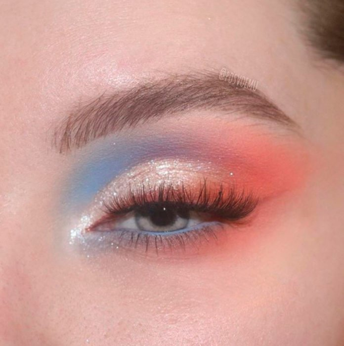 Blue, lilac and coral eye makeup