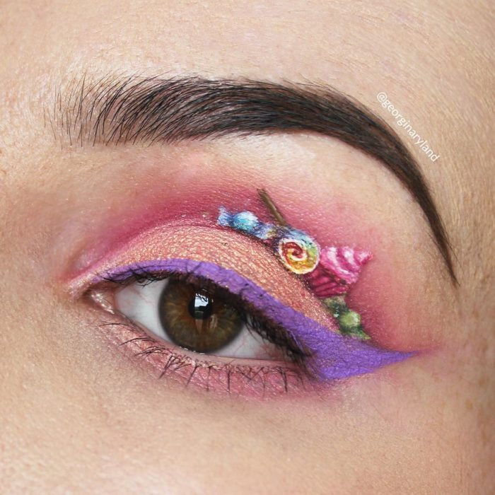 Fantasy makeup on the eyes that look like works of art