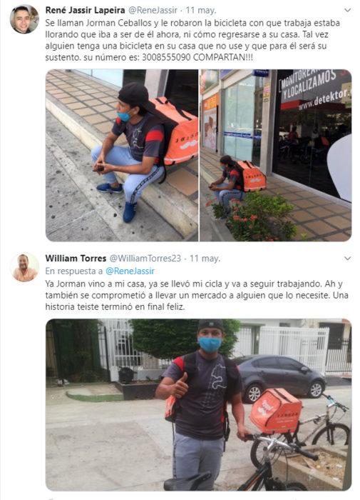 Repartidor de Rappi al que le robaron su bicicleta y después le regalaron una