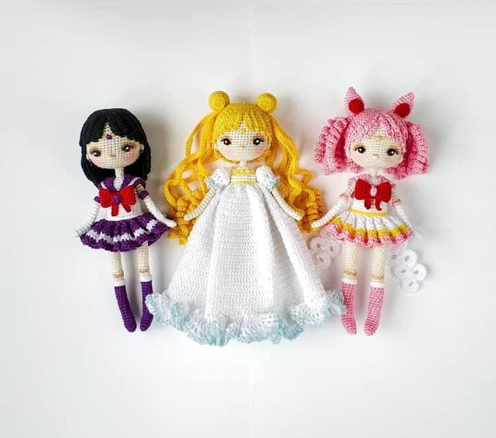 Muñecas de sailor moon tejidas