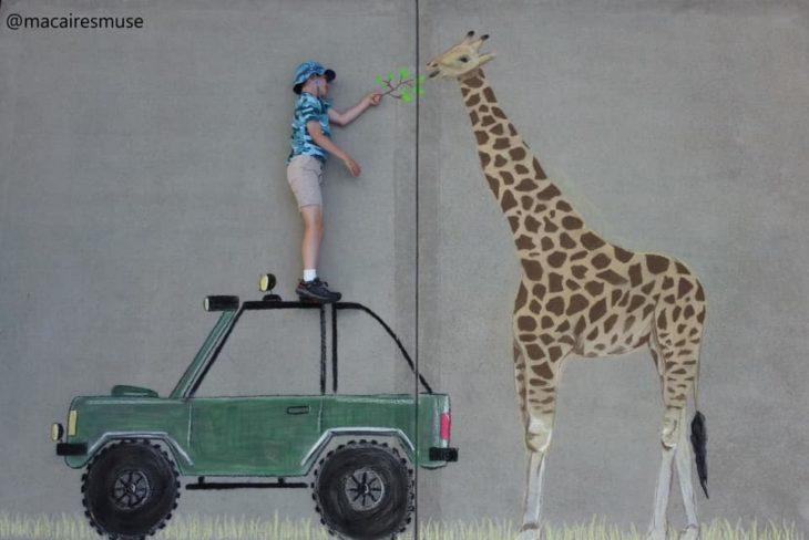 Dibujo hecho con tiza de un niño alimentando una jirafa con lechuga, parado sobre una camioneta