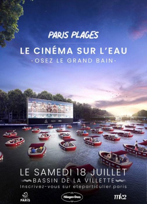 Promocional de Paris Plages 2020 y cine flotante