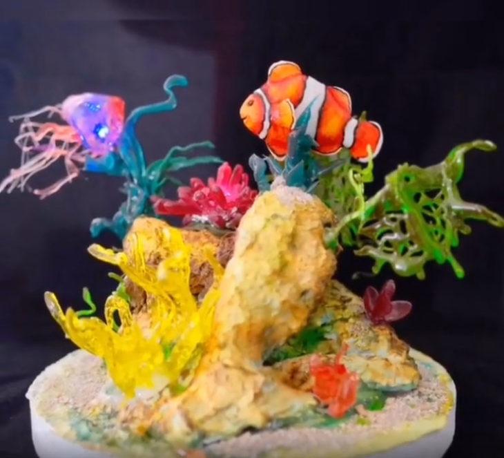 Pastel artístico inspirado en la película de buscando a Nemo