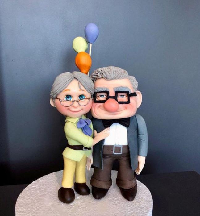 Pastel artístico inspirado en Ellie y Carl de Up!