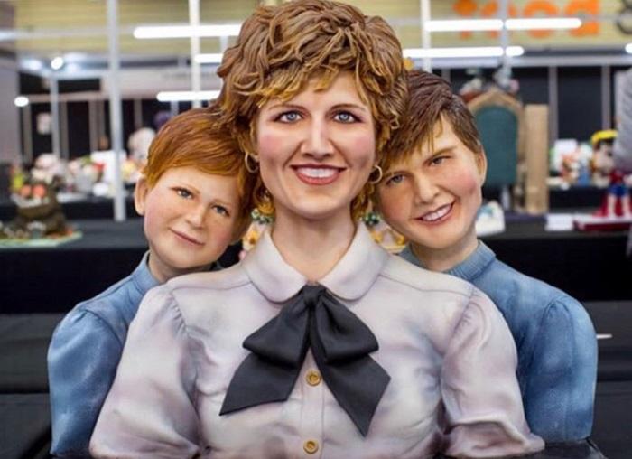 Pastel artístico inspirado en la princesa Diana y sus hijos