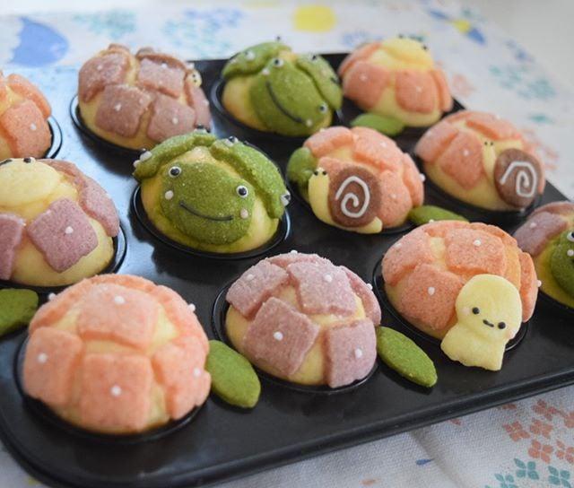 Panes en forma de tortugas kawaii