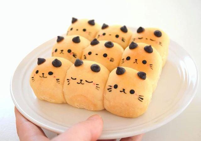 Panes en forma de gatitos