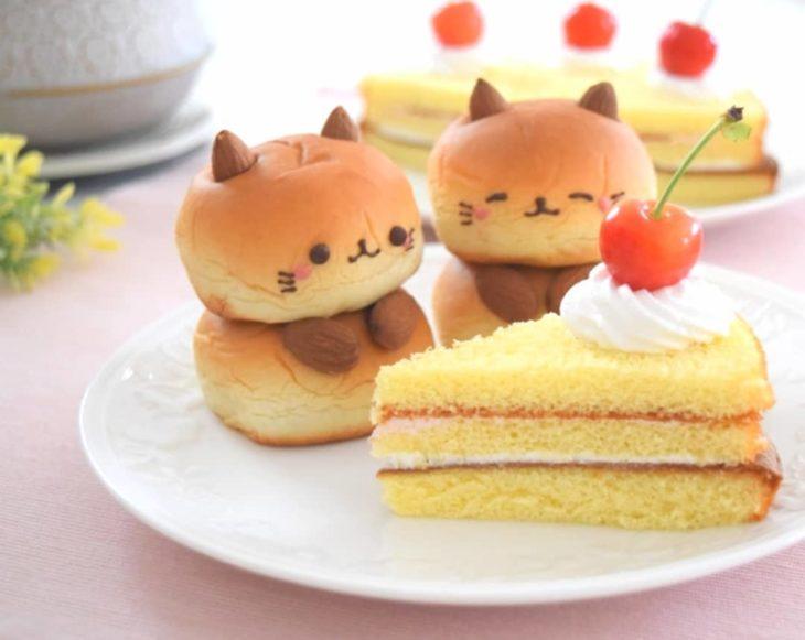 Panecitos en forma de gatos