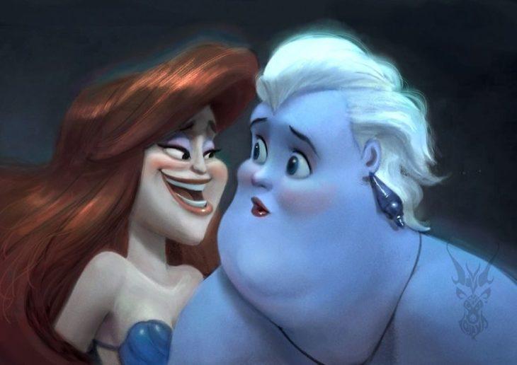 Úrsula y Ariel ilustración por David Ardinaryas Lojaya