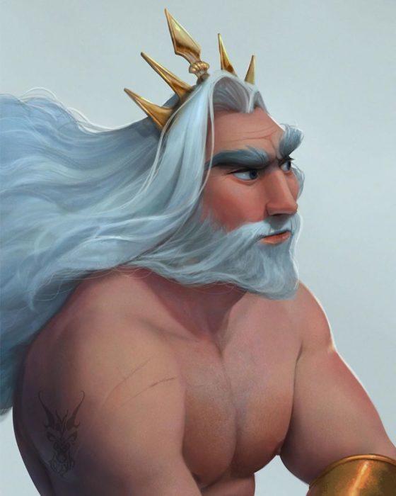 Rey Tritón ilustración por David Ardinaryas Lojaya