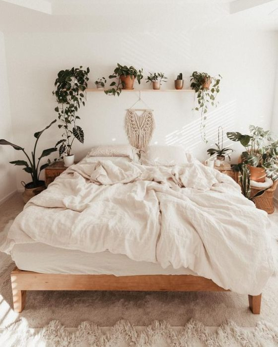 Repisa con plantas sobre cabecera de la cama