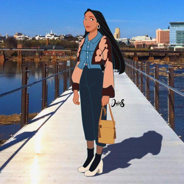 Pocahontas con mom jeans, blusa denim y chaqueta