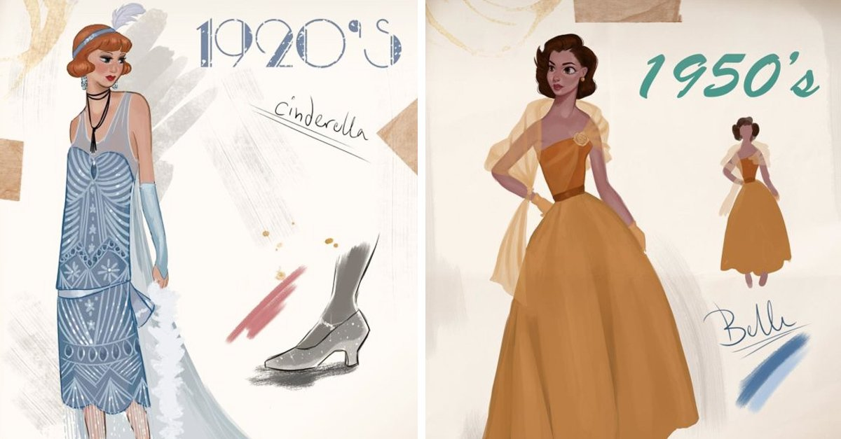 Artista nos muestra cómo se verían las princesas Disney en diferentes épocas