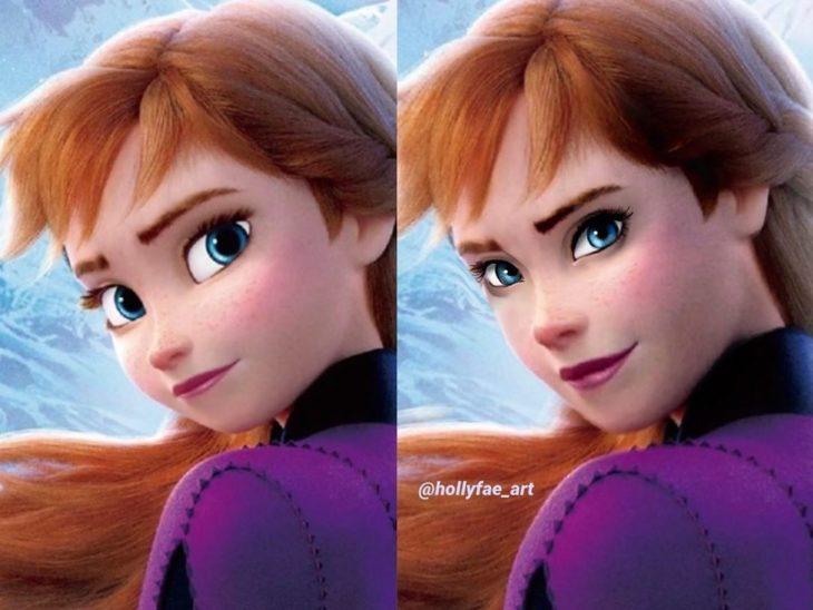 Artista Holly Fae crea ilustraciones de princesas Disney con facciones más realistas; Anna, Frozen