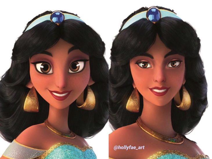 Artista Holly Fae crea ilustraciones de princesas Disney con facciones más realistas; Jasmín, Aladdín
