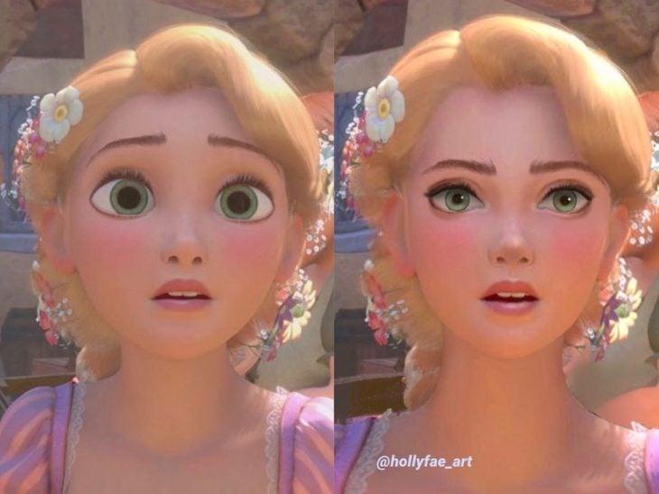 Artista Holly Fae crea ilustraciones de princesas Disney con facciones más realistas; Rapunzel, Enredados