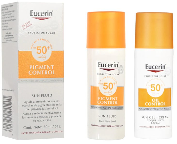 Skin care products; Eucerin sunscreen to avoid stains with a matte effect