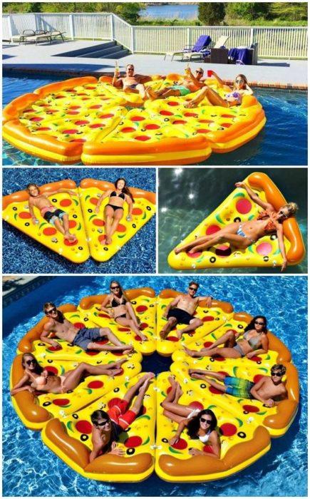 Flotador gigante en forma de pizz