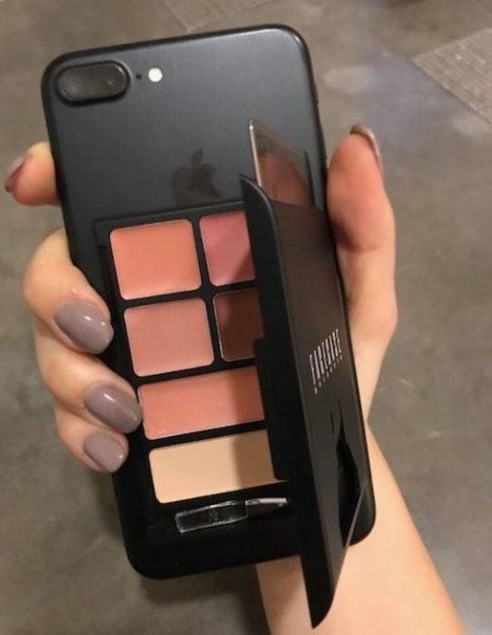 Case para iPhone con compartimento para compartimento para sombras de maquillaje