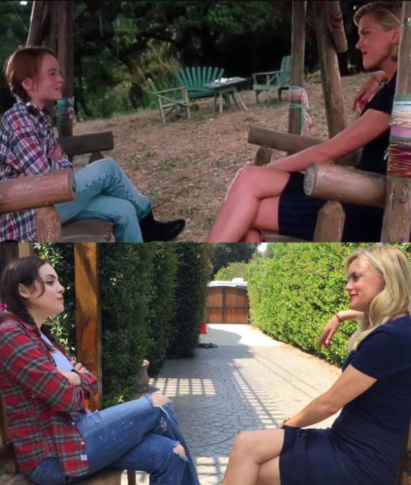 Liz Gillies y Elaine Hendrix se convierten en Annie, Hallie y Meredith para recrear escena de Juego de gemelas