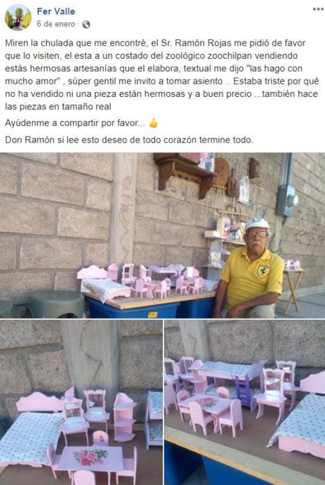 Screenshot de la publicación que hizo Fer acerca de don Ramón y sus juguetes