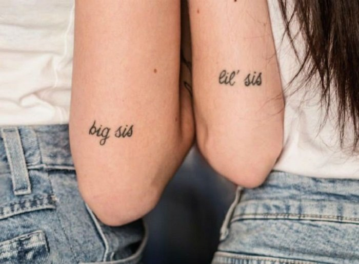 Tatuaje de hermanos de frase de hermanas