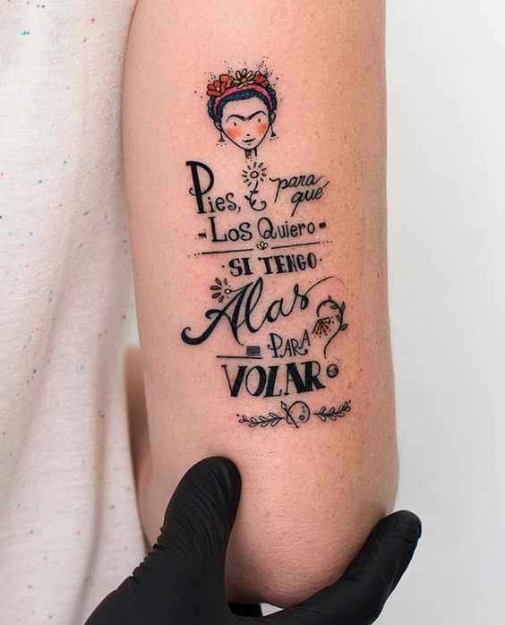 Frida Kahlo tattoo on the arm