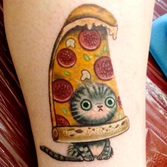Cat tattoos; Peperoni pizza striped gray feline leg tattoo