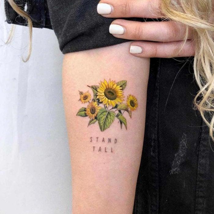 Sunflowers tattoo on arm