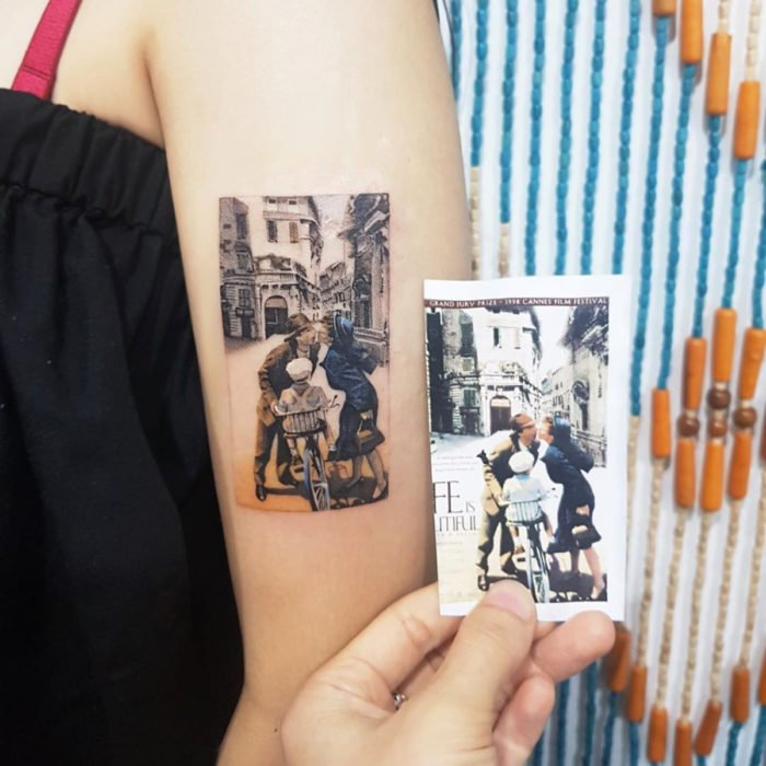 Miniature movie tattoos; Life is Beautiful