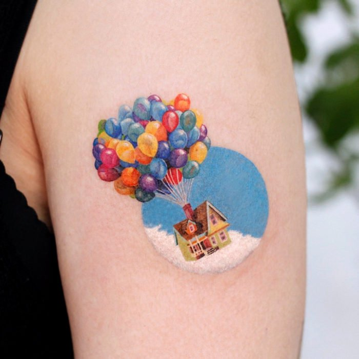 Miniature movie tattoos; Up, house with balloons