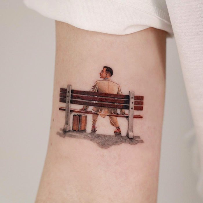 Miniature movie tattoos; Forrest Gump
