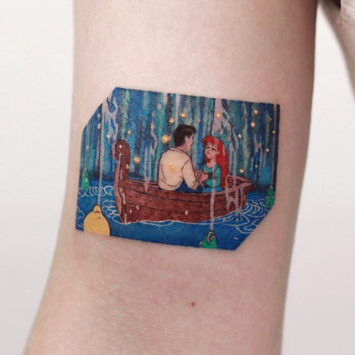Miniature movie tattoos; The little mermaid, Ariel and Eric in the boat