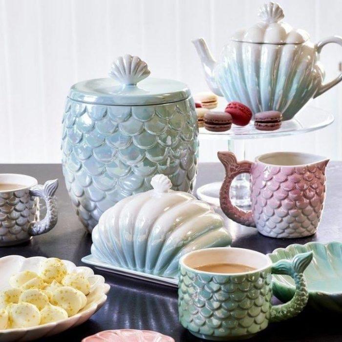 Vajilla para té con temática de sirena