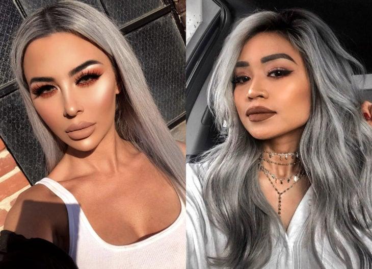 Colores de cabello para chicas morenas; tinte gris